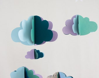 Paper mobile clouds + matching - clouds Garland purple polka dot green blue - model single-birthday gift decor nursery baby mobile mixed