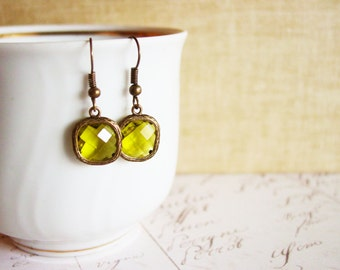 Bronze Framed Mossy Green Glass Drop Earrings, Small Square Geometric Earrings, Faceted Gem Stone Dangle Earrings