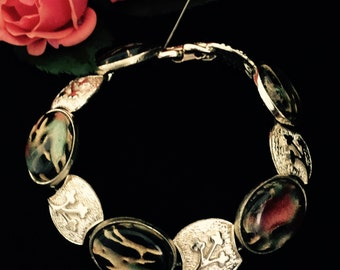 Coro bracelet jewelry cabochon gold finish 1950's