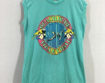 Vintage 80s Stretch Beach Volley Ball Dude Paper Thin Muscle Tank Top TShirt Size M/L