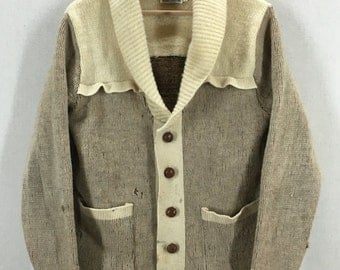 Vintage Distressed Miller Shawl Collar Navajo Native Tribal Print Sweater Size Medium USA