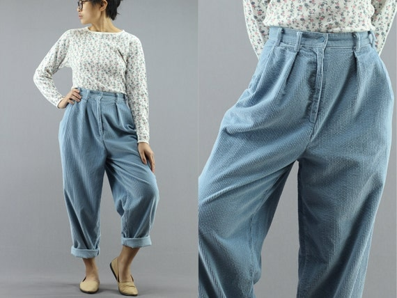 high waist baby blue corduroy pants tapered women 39 s size