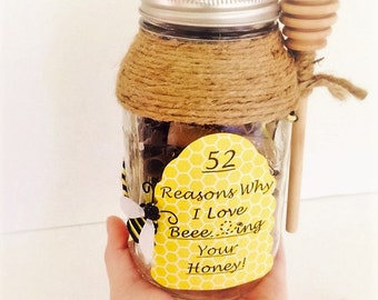 52 reasons why i love you gift in a jar 52 reasons why i love you gift in a jar bumble bee honey negle Image collections