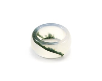 Moss Agate Band/ Lush Landscape Ring/ Thick Stone Ring/ Moss Agate Jewelry/ Moss Agate Ring