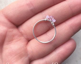 Promise Ring, Engagement, Pink Ring, Girls Pink Ring, Sized, Pinky Ring, Three Stone Ring, Bridal Ring, Bridesmaids, Statement Ring, Sized