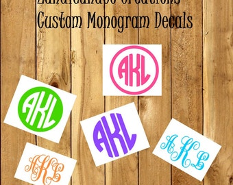 Custom Vinyl Decal - Personalized Monogrammed Initials