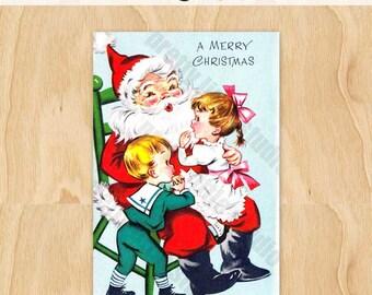 Santa #15 Kids Sitting on Santa's Lap | Christmas Adorable Fun Tradition | Vintage Digital Greeting Card
