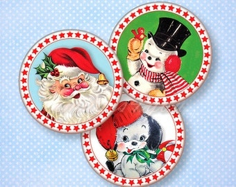 "Retro Christmas Digital Collage Sheet 1"" bottle cap images printable circles 1 inch round download cabochon 30mm 25mm 1.25"" 1.5"" pendant art"
