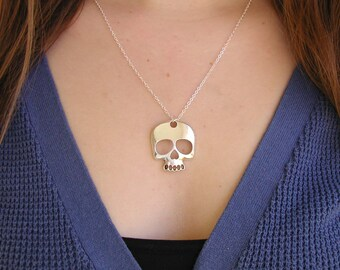Skull Necklace - Charm Necklace - Skull Pendant - Delicate Necklace - Silver Necklace - Silver Jewelry - Silver Skull - Skull Charm - Gothic
