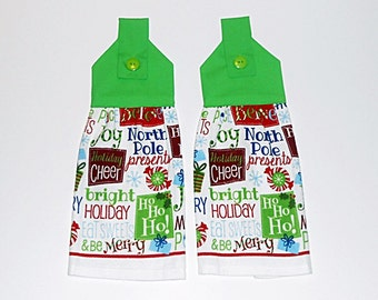 Hanging Kitchen Towels, Hanging Dish Towels- Set of 2 - Holiday Greetings, Holiday, Christmas Cheer,