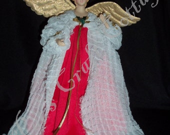 Christmas Velvet ~ 12 in Treetop or Tabletop Angel by PFeignCottage