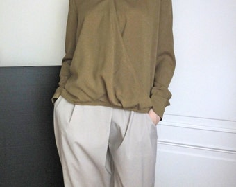 olive tencel/cupro faux wrap blouse