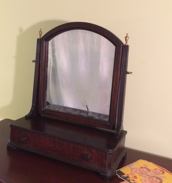 Vintage Mahogany Vanity Make Up Stand Mirror Shaving Mirror