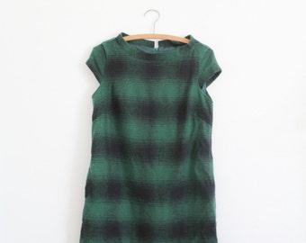 Plaid Dress - Cap Sleeve Wide Scoop Neck