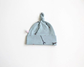 Soft blue baby knot hat, baby beanie with arrows Baby Gift Boy or Girl knotted hat with fold over band. Stylish baby hat. Shower gift