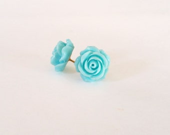 Vintage rose stud earrings- sky blue (blue flower earrings, rose buds, resin, post, flower earrings, rosa)