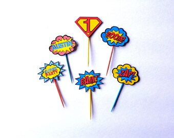 Superman Cupcake Toppers// Personalized