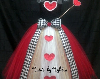 Queen of Hearts inspired Tutu Dress Costume, Queen of Hearts Costume, Heart Tutu Dress, Valentine Tutu, Heart Tutu, Birthday Party Tutu