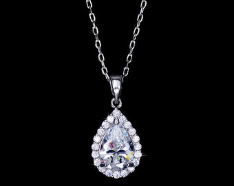 2 ct Drop Cubic Zirconia Necklace Wedding Crystal Necklace Tear Drop Necklace Bridal Necklace Bridesmaid Necklace CZ Pendant Necklace-AN0092