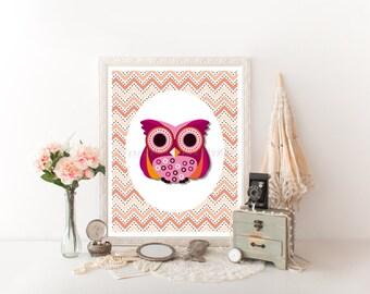 Pink Owl Decor Download Print, Owl Printable, Owl Decor Digital Download,Owl Decor, Owl Digital Download, Nursery Decor Owl Nursery Art 0122