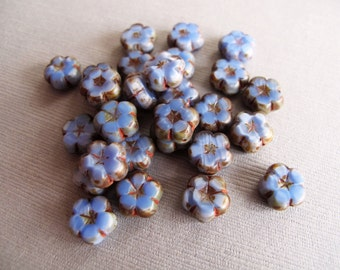 12pcs Cornflower Blue With Brown Edges Czech Glass Flower Beads 10mm - B-07BL-176