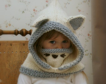 KNITTING PATTERN snood arctic Fox Rene (baby, toddler, child and adult sizes)