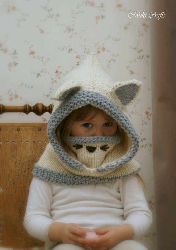 Sale! KNITTING PATTERN snood arctic Fox Rene (baby, toddler, child and adult sizes)