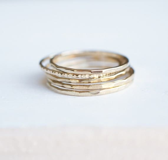 Stackable Rings Ring Set 14k Gold Rings Gift For Her By Luxuring