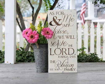 "As for me and my house we will serve the Lord, As for me and my house sign, Joshua, wood sign, Wedding gift, Measures 10.5""  x 22"""