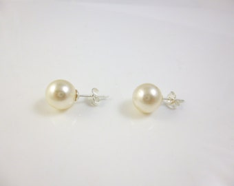 Pearl Earrings, Sterling Silver Pearl Stud Earrings, 9mm Swarovski Pearls, Cream Pearl Earrings,  Bridesmaid gift