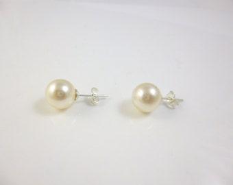 Pearl Earrings, Sterling Silver Pearl Stud Earrings,10mm Swarovski Pearls,  Bridesmaid gift
