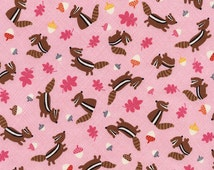 Chipmunk Fabric, Timeless Treasures, Let's Get Nutty, Fun C3667 Pink Chipmunks, Baby Girl Quilt Fabric, Pink Cotton Quilt Fabric