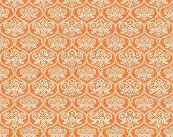 Orange Halloween Damask Fabric, Happy Haunting, Riley Blake C4671 Orange, Deena Rutter, Orange & Cream Damask Halloween Quilt Fabric, Cotton