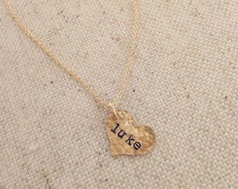 Small Gold Hammered Heart Lowercase Necklace // Cable Chain
