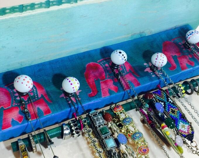 Floating shelves /shelving jewelry holder wall hanging shelf /reclaimed pallet wood stenciled elephants 5 knobs 2 pink hooks bracelet bar