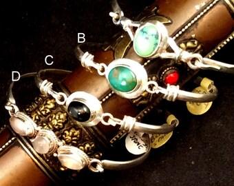 Sterling Silver Clasp Bracelet.  Tibetan Turquoise or Black Star free US ship