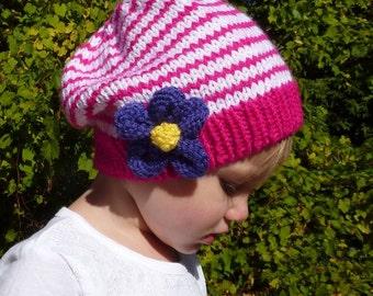 PATTERN #109: Children's knit beanie with purple knit flower (Children's Size S, M & L) - Instant Download PDF Digital File/Pattern