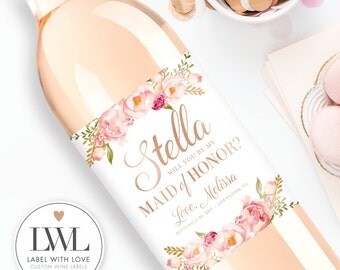 Will You Be My Bridesmaid Wine Labels - Watercolor Floral Custom Wine Labels Ask Bridesmaid Thank You Maid of Honor Gift