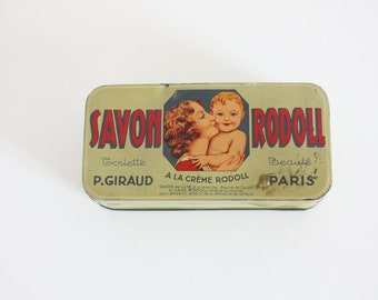 Old little box of Rodoll soaps - Green metal box - collection box - pharmacy - old box - retro box