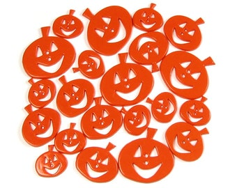 Pumpkin Buttons, Halloween Button, Orange Jack O Lantern, Cute Face Costume Decoration, Fall Scrapbook Supply, Autumn Decor, Novelty Button