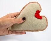 Handmade heart, Linen heart, Door hanger, padded heart, crochet red heart, hanging heart, love gift,  Amigurumi heart, Valentines day gift