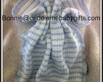 Baby Shower Handmade Crochet Baby Blanket baby blue  White Baby Afghan Baby Shower Gift Baby Boy