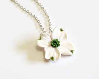 White Dogwood Necklace - Dogwood Jewelry - Gifts - White Dogwood Bridesmaid, Necklace, Bridesmaid Jewelry