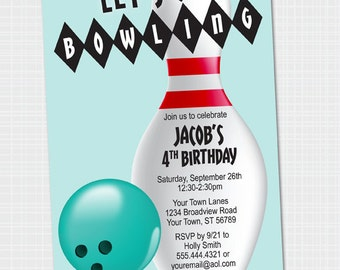 Bowling Party Invitation | Bowling Birthday {Digital File} Kids Party | Let's Bowl