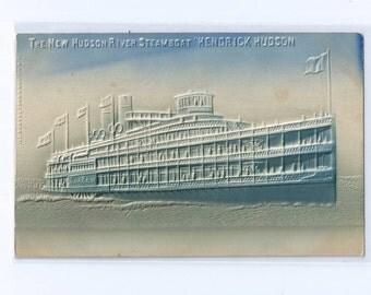 "The New Hudson River Steamboat ""HENDRICK HUDSON"" Embossed Airbrush Postcard Unused ca. 1907"