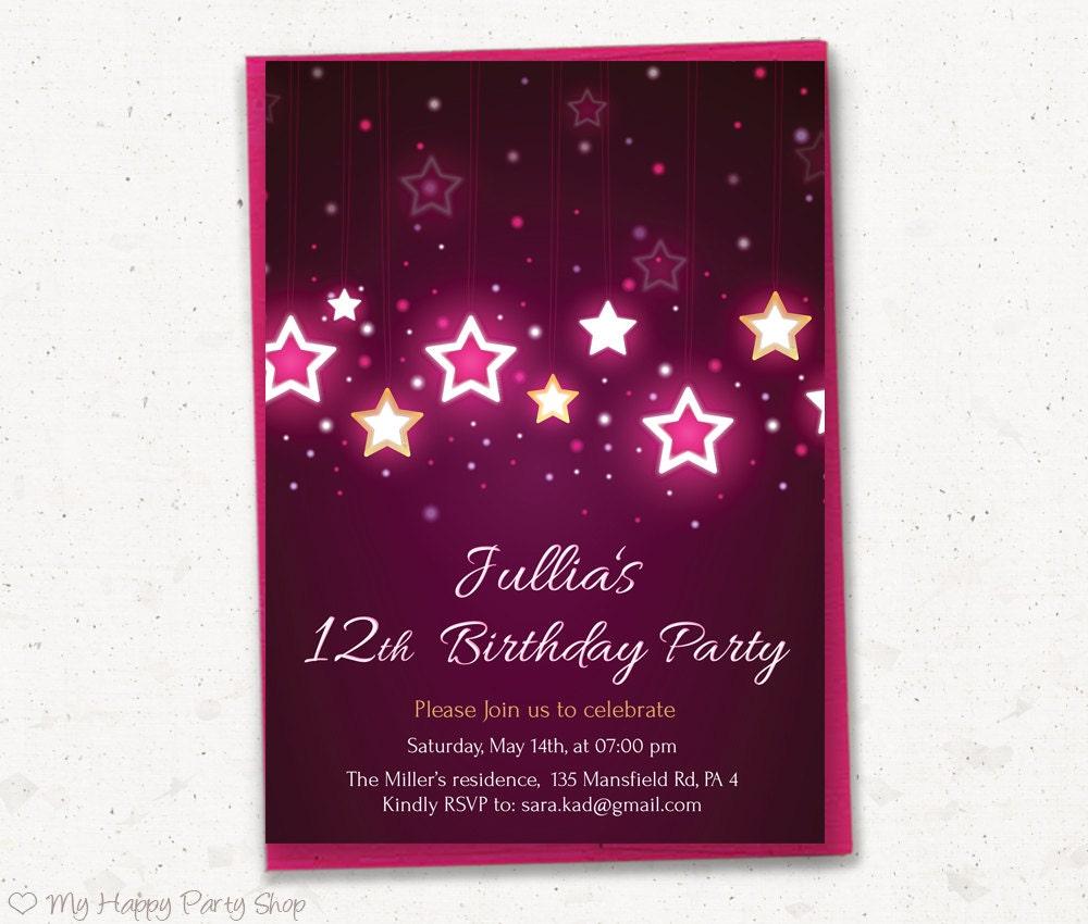 12th Birthday Invitation Teen Girl Birthday Invitation