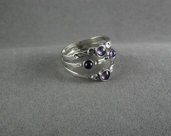 Amethyst ring , Amethyst silver ring , purple gemstone ring , gemstone ring , Silver ring , Stacking silver ring  , purple Ring