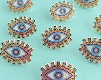 Evil Eye Enamel Pin, Flair – Lapel, Hard Enamel - Blue & Gold