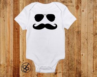 Mustache Onesie and Shirt - Mustache Aviator Sunglasses Onesie and Tshirt - Funny Onesie and Shirt
