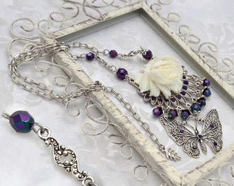 Fae Rose - Blooming rose statement necklace - Purple, White, and Antique Silver Fantasy Victorian Statement Butterfly Necklace Set